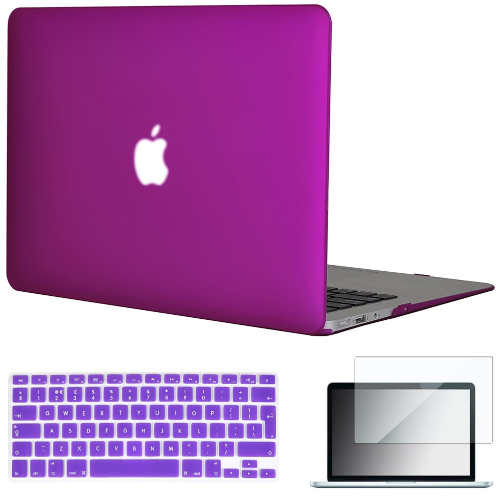 Topideal 3 in 1 Matte Frosted Silky-Smooth satins -Touch Hard Shell Case Cover for 13-inch MacBook Air 13.3 + Keyboard Cover - EU//UK Keyboard Version + Screen Protector -Purple Model: A1369 and A1466