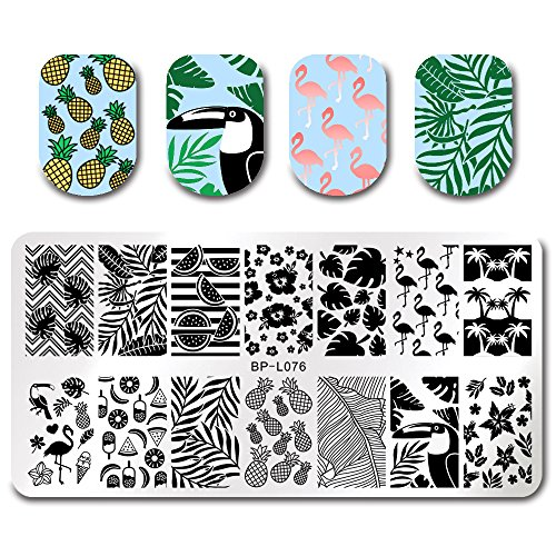 BORN PRETTY Stamping Template Summer Fruit Leaf Flamingo Rectangle Nail Plate Image Plate BP-L076