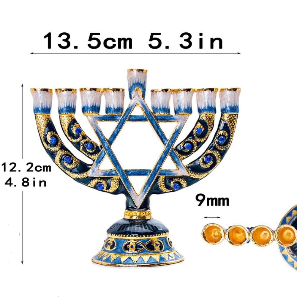 Hanukkah Menorah Smalto Dipinto a Mano Chanukah Menorah Temple Hexagonal Star of David 9 Branch Home Party Decoration Regalo in Terra Santa