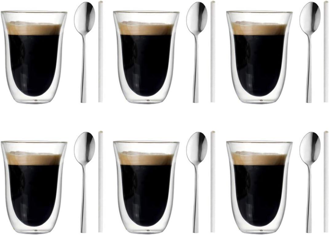 Juego de 6 Vasos de Doble Pared 300ml para Capuccino, Café con Leche, Caffe Latte, Late Machiatto, Set para Té y también para Bebidas frías, 6 cucharitas y 6 pajitas incluidos