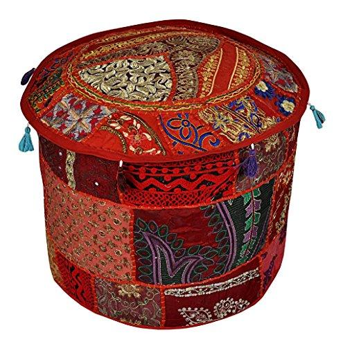 Indian Pouf Stool Vintage Patchwork Decorative Ottoman Cover