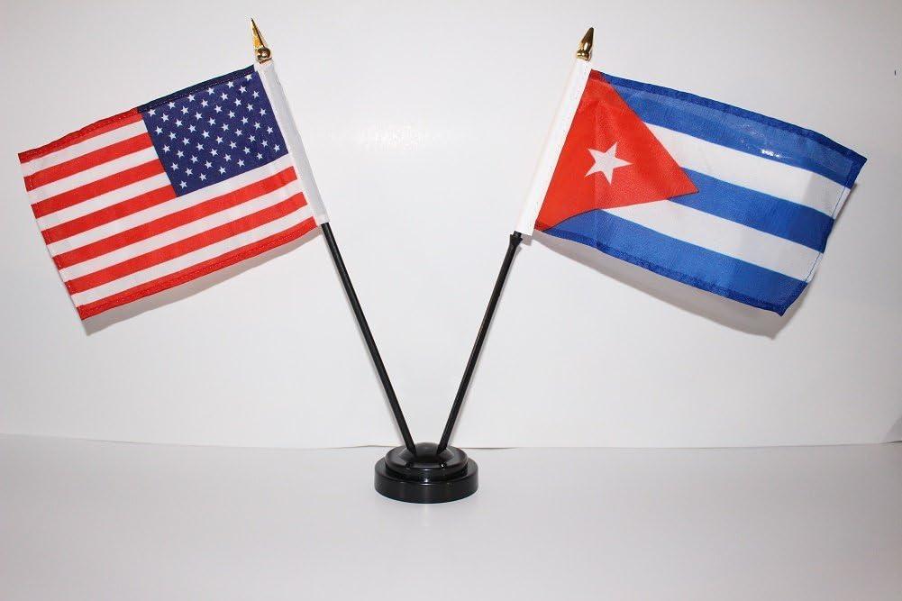 "Cuba Cuban Flag 4/""x6/"" Desk Set Table Stick Black Base"
