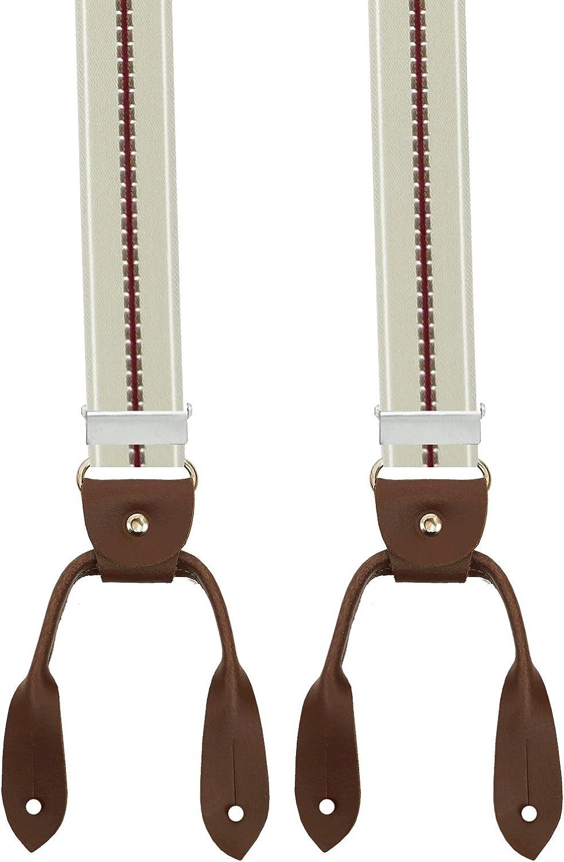 Xeira Bretelle vintage a forma di Y uomo e donna con cinturini in pelle realizzati in vera pelle Made in Germany