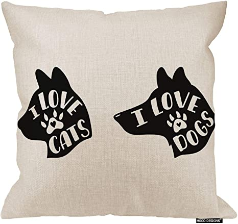 Amazon Com Hgod Designs Cat Quotes Throw Pillow Covers I Love Cats Dogs Handwritten Quotes Pillowcase Home Decor For Sofa Bed Living Room 24 X24 Home Kitchen