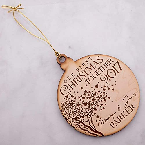 Be Burgundy - Personalized Christmas Ornaments - Our first Christmas  Together & Names Size: 4.8