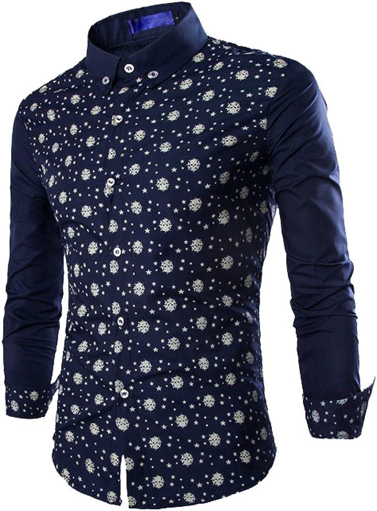 Camisas Slim Fit Hombre Camisa Regular Fit Básica Cuello Clásico Camisas de Vestir Formal Caballero Camisas Vestidos Entalladas Estampadas Casuales para Hombres Camisetas Manga Larga Sport Azul M: Amazon.es: Ropa y accesorios