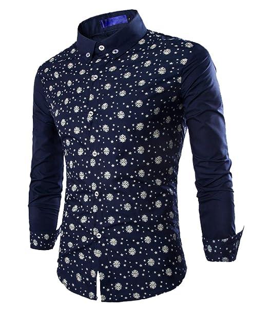 ... de Vestir Formal Caballero Camisas Vestidos Entalladas Estampadas Casuales para Hombres Camisetas Manga Larga Sport: Amazon.es: Ropa y accesorios
