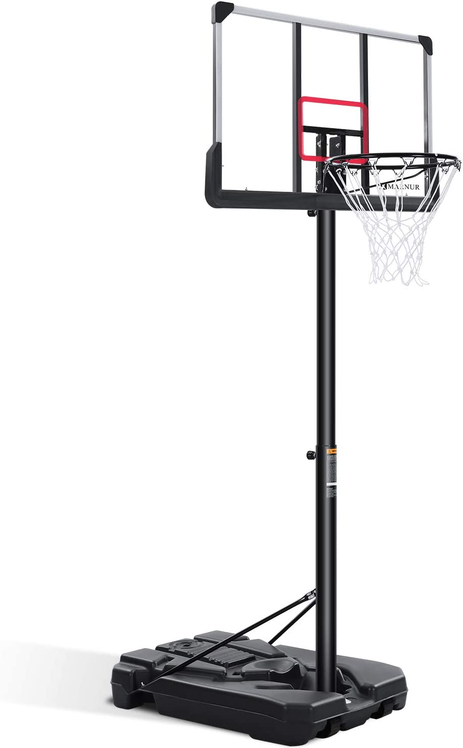 MARNUR Portable Basketball Hoop & Goal Basketball System Basketball Equipment with Height Adjustable 7ft 6in-10ft with 44 Inch Backboard & Wheels for Youth Kids Indoor Outdoor