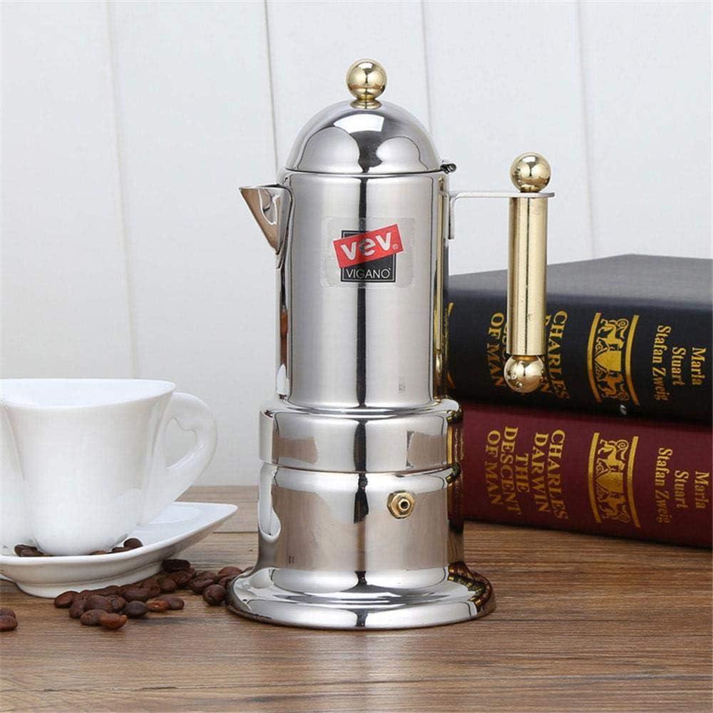 Cafetera doméstica Percolador de vidrio Estufa Cafetera Mocha Pot Nuevo estilo 304 Acero inoxidable Espresso Latte Tetera, Plata: Amazon.es: Hogar