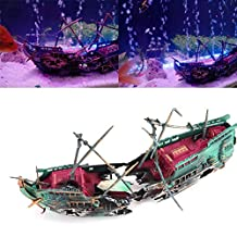 Jocestyle Aquarium Decoration Sunk Wreck Boat Hiding Cave Fishing Aquarium Ornament for Fish Tank
