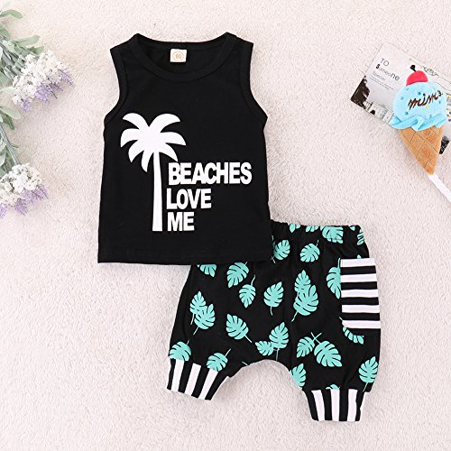 Infant Baby Boys Summer Casual Clothes Set Beaches Love Me Vest Tops +Shorts (Black, 12-18 Months) by Younger Tree (Image #1)