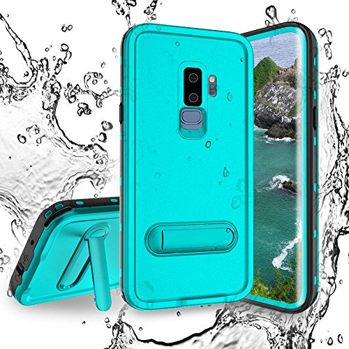 Shellbox Galaxy S9 Plus Waterproof Case, Full Sealed IP68 Cover with Kick Stand Snowproof Protective Bumper Case for Samsung Galaxy S9 +(6.2