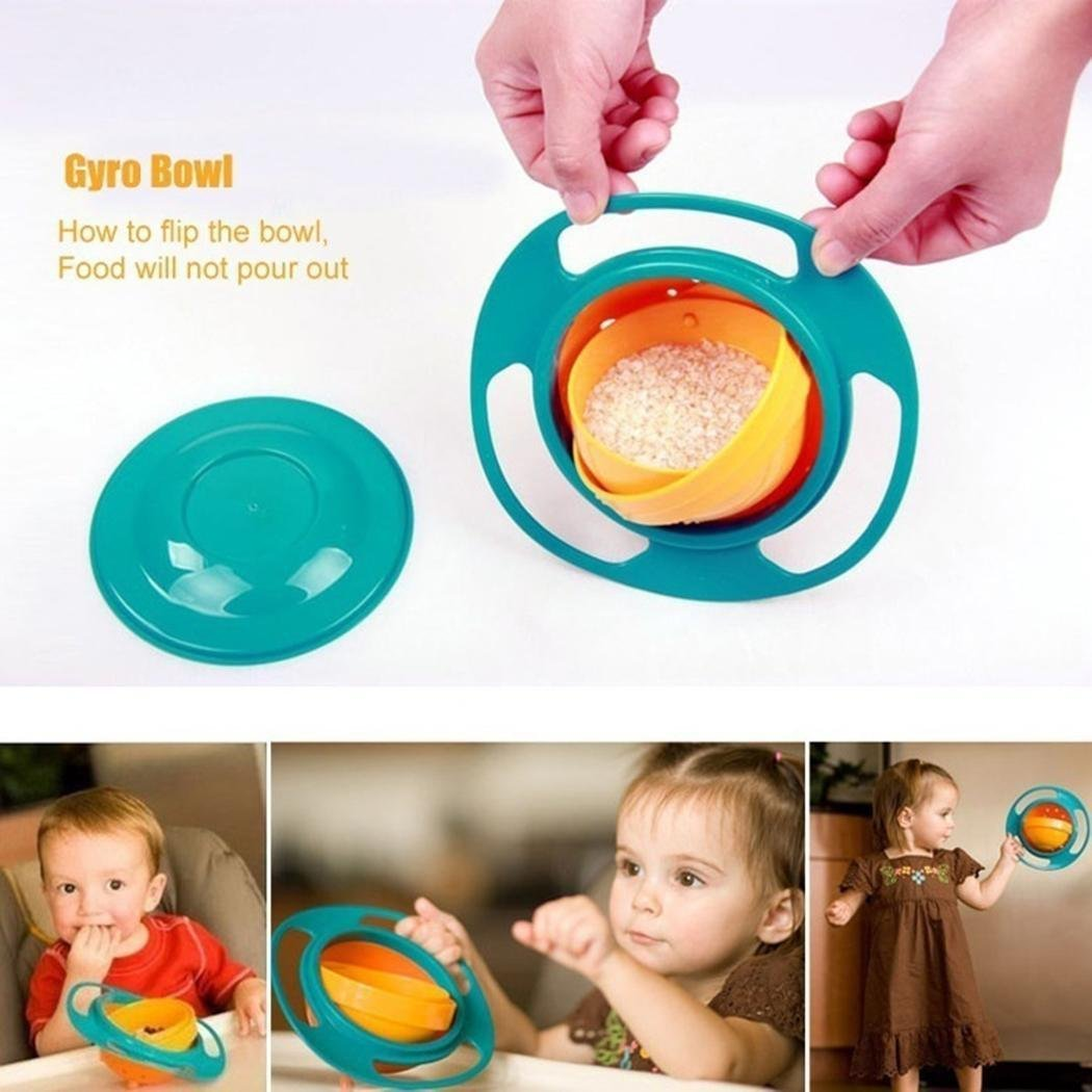 Baby Gyro Bowl 360 Dgree Rotation Spill Resistant Gyroscopic Bowl with Lid Toy Tableware for Kids Toddlers (Blue)
