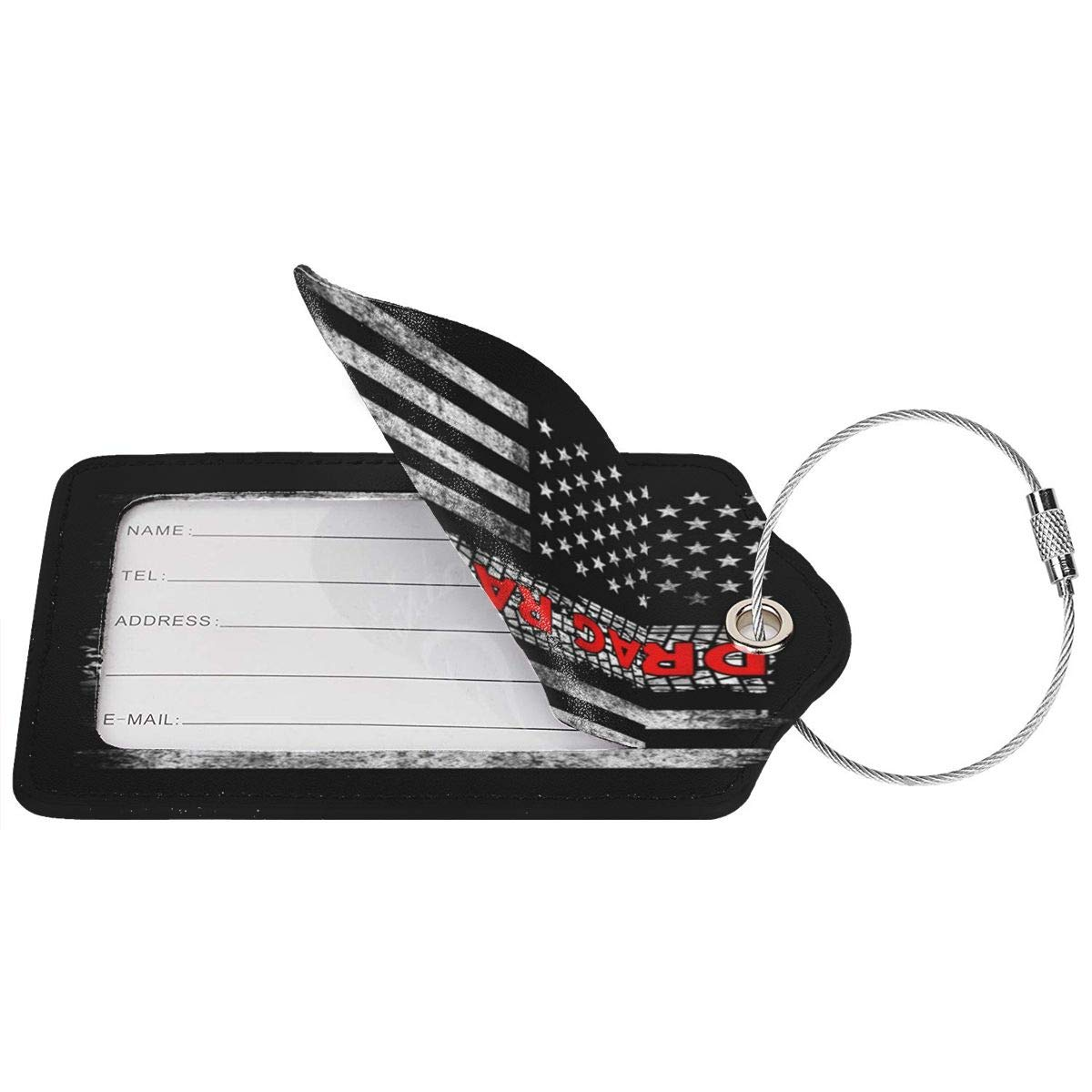 GoldK Drag Racing Flag America Leather Luggage Tags Baggage Bag Instrument Tag Travel Labels Accessories with Privacy Cover