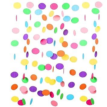 Jonami Decoraciones Cumpleaños Guirnalda Arco de Iris de 9 Metros Guirnalda Circulo Multicolor Ideas para Decorar