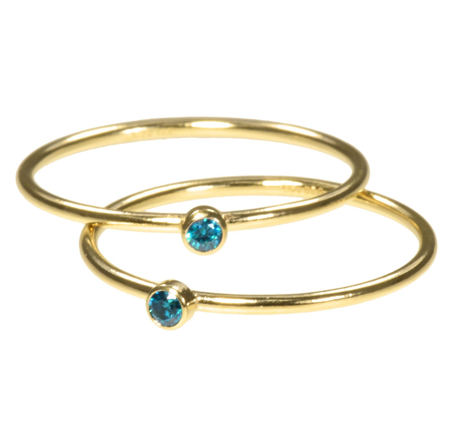 uGems 2 14K Gold Filled Aqua Blue CZ Stacking Rings Size 5