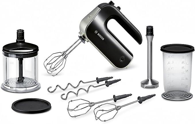 Bosch MFQ4885DE Premium Handrührer-Set (575 W, spülmaschinengeeignet, 2 Paar Rührbesen, XL-Universalzerkleinerer, Mixfuß) schwarz/chrome