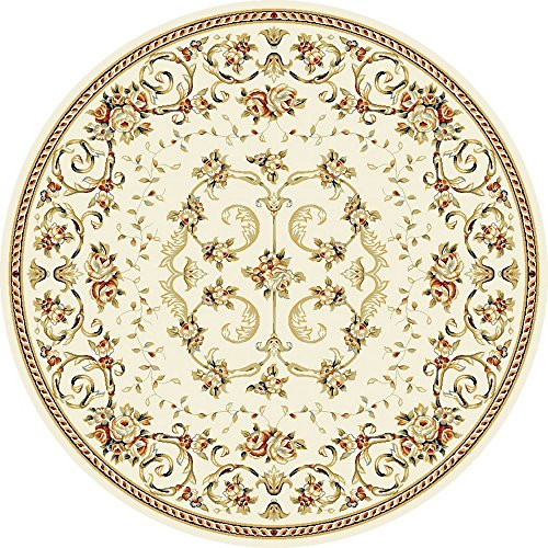 (Safavieh Lyndhurst Collection LNH327A Traditional Floral Scrolling Vines Ivory Round Area Rug (8' Diameter))