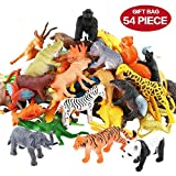 Animals Figure,54 Piece Mini Jungle Animals Toys Set,Zoo World Realistic Wild Vinyl Pastic Animal Learning Resource Party Favors Toys For Boys Kids Toddlers Forest Small Farm Animals Toys Playset