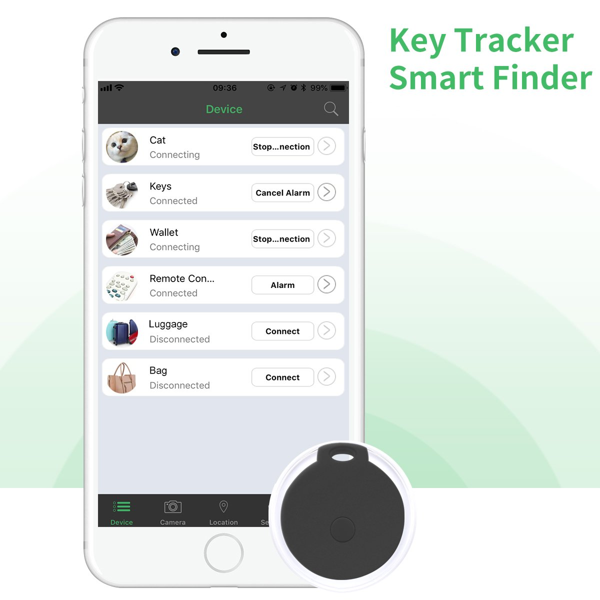 Key Finder, CC-Show Wireless GPS Phone Locator, Smart Wallet Tracker, Anything Anti Lost Alarm with Selfie Shutter/Remote Control for iOS/Android App, Round Crystal (Black)
