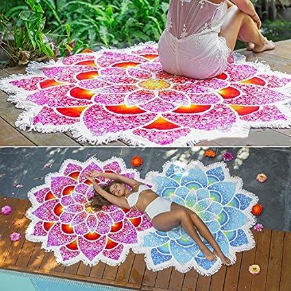 Wildeal Mandala Tapisserie de lotus Tapis de yoga boh/émien Fleur Imprim/é Serviette de plage solaire Ch/âle avec Tassel