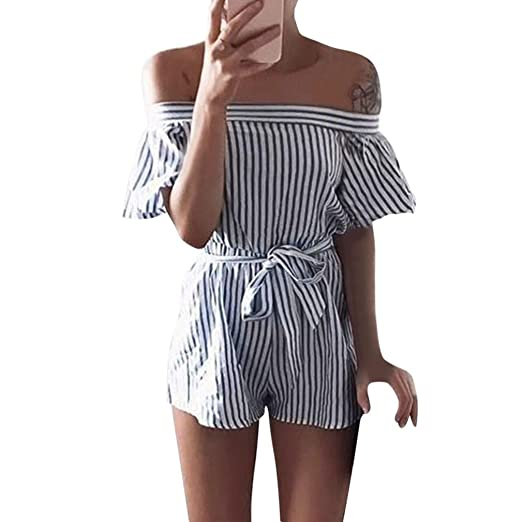 b9717288846c Amazon.com  Jushye Women Off Shoulder Jumpsuit