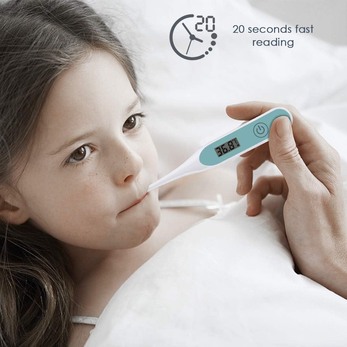 SoulQSoulQ - Term/ómetro digital para axilas orales y rectales para beb/és y adultos, indicador de temperatura, 20 segundos lecturas r/ápidas y precisas, , ,  Azul,,