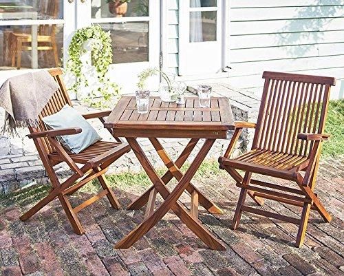 ガーデンテーブル ガーデンチェア 『 ガーデンファニチャーシリーズ フォーン /3点セットAタイプ:テーブル正方形+肘有チェア2脚/ 』 040601189 B01D1228XA