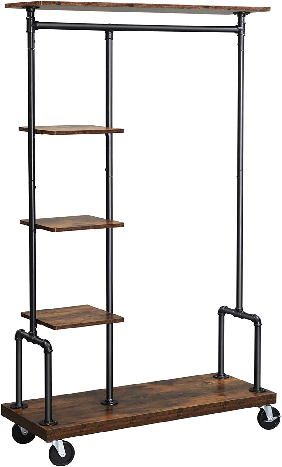 vasagle clothes rack clothing garment rack on wheels rolling clothes organizer with 5 tier industrial pipe style rustic brown uhsr66bx