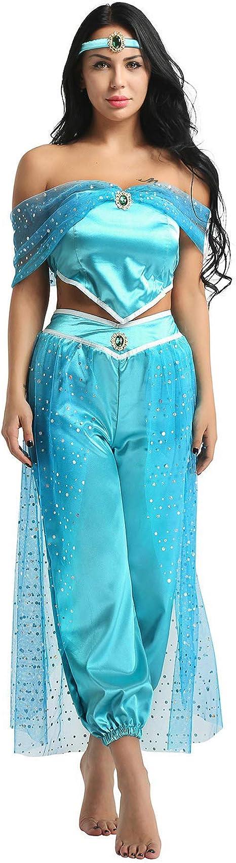 YiZYiF Disfraz Princesa Árabe Mujer Cosplay Lámpara de Aladín ...