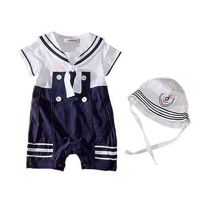stylesilove Baby Boys Sailor Romper Onesie With Hat 2-Piece Suit