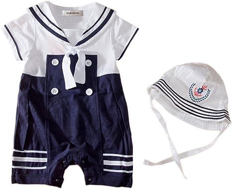 Baby Boy Sailor Costume Short Sleeve Romper With Hat 2 Pcs Set