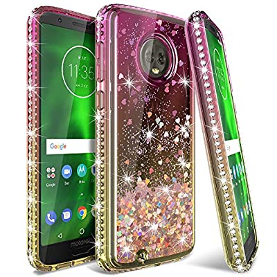 LK Moto G6 Case,[Gradient Quicksand Series] Glitter Liquid Floating Flowing Sparkle Flexible TPU Bling Diamond Clear Protective Case Motorola Moto G6 from LK