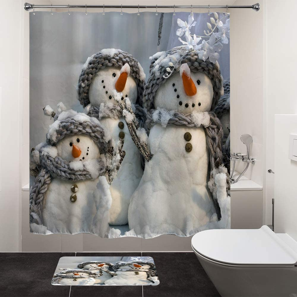 Amazon Com Hiyoo Christmas Snowman Shower Curtain Sets Xmas New Year Home Decorations Winter Bathroom Decor Waterproof Polyester Fabric Shower Curtain With Hooks Happy Snowman Family 60 W X 72 L Home