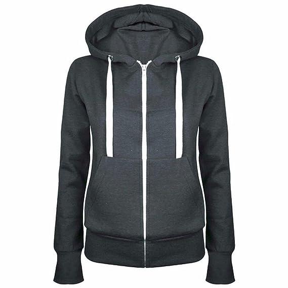 b2f6f74627 ACVIP Femme Sweat à Capuche Veste Zipper Manche Longue Manteau Chaud  Automne Hiver, Taille M