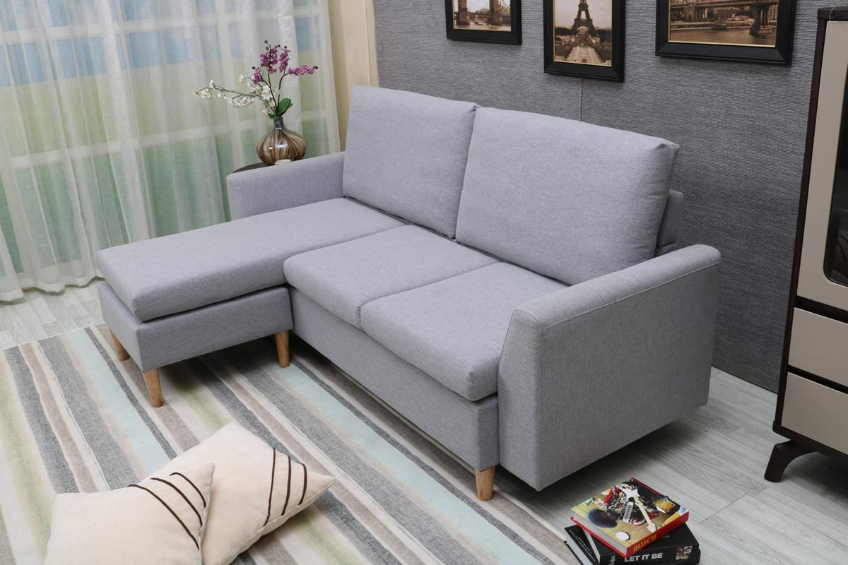 Sectional Sofa L Shape Sectional Couch With Reversible Chaise Couches And Sofas With Modern Linen Fabric For Small Space Grey Blue