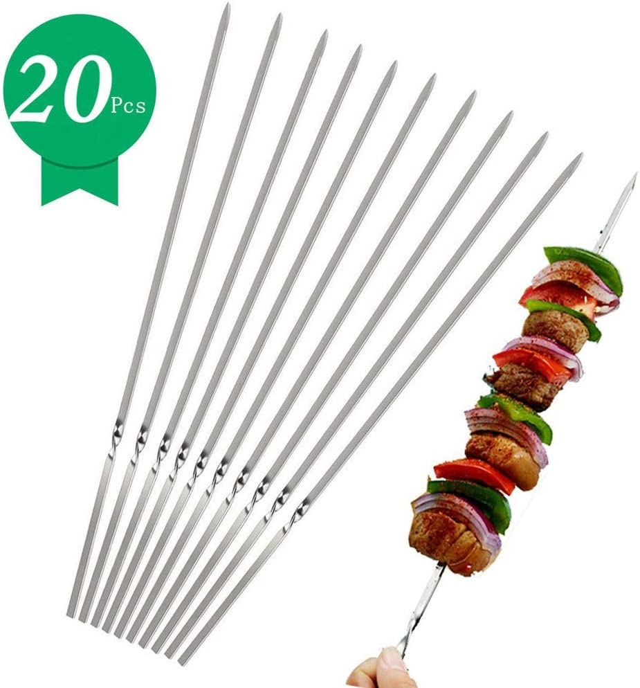 "Kerkors Kabob Skewers (Set of 20), Stainless Steel BBQ Barbecue Skewers Set - 14"" Flat Metal Skewers for Grilling - Reusable BBQ Sticks with Portable Storage Bag"