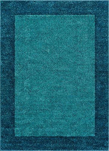 (Well Woven Frontier Border Blue Modern Plain 5x7 (5'3