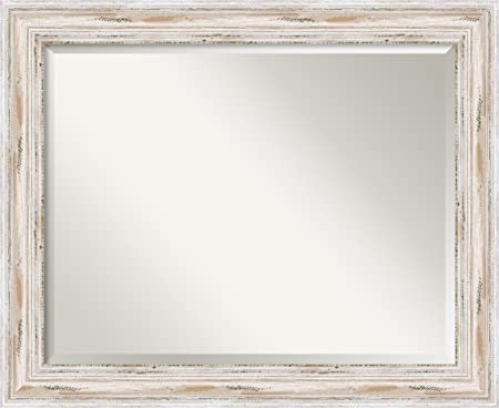 Amanti Art Framed Solid Wood Wall Mirrors , Glass Size 28×22, Alexandria White Wash
