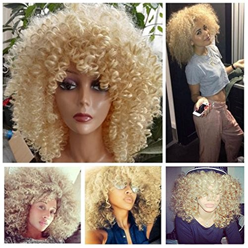 Lady Miranda Blonde Kinky Curly Wig Middle Part Afro Curly Medium Length Heat Resistant Synthetic Hair Full Wigs For Women (Blonde)
