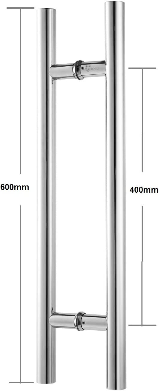 Mirror-Polished Chrome Finish Promotion!!!TOGU TG-6012 12 inches Solid Standoffs Heavy-Duty Commercial Grade-304 Stainless Steel Push Pull Door Handle//Barn Door Pull Handle//Glass Pulls