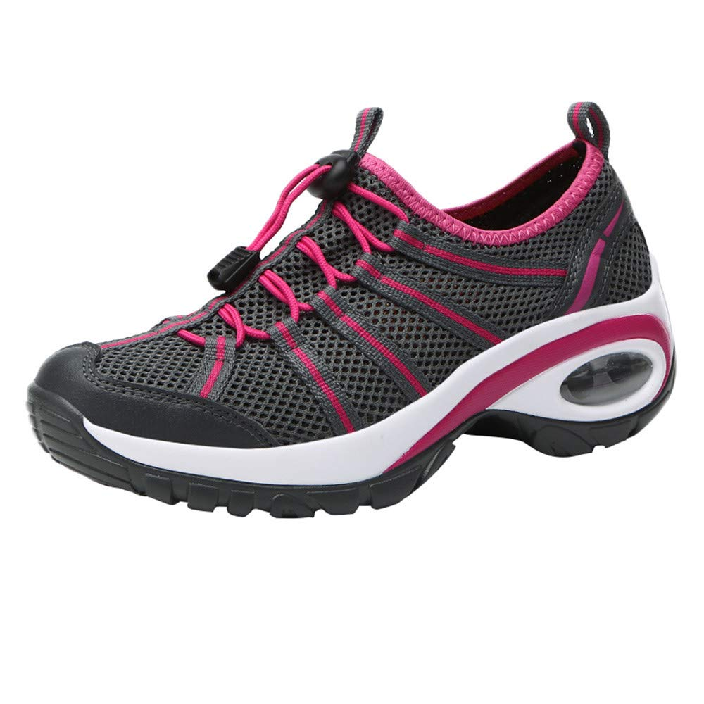 Women's Mesh Wear Resistant Sneakers, Lace-Up Non-Slip Sport Shoes Flat Leisure Sneakers (5.5, Hot Pink)
