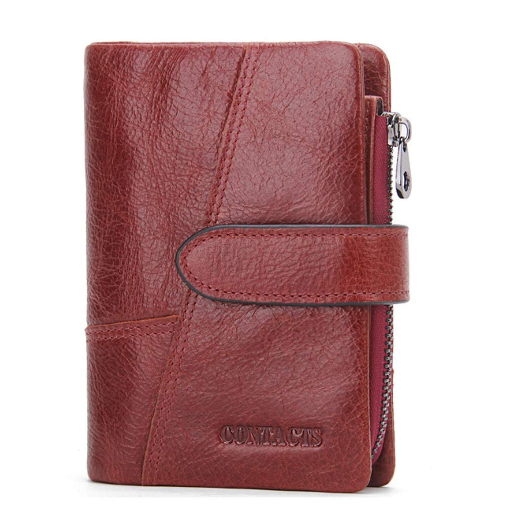 Color : Brass, Size : S Elegdy Mens Wallet Leather Short Wallet Activity Zip Coin Purse Stitching Clutch Card Bag Fashion