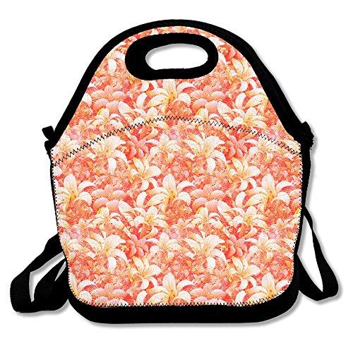 Flower Lily stampa rosso impermeabile pranzo Tote portatile picnic lunch box contenitore per alimenti