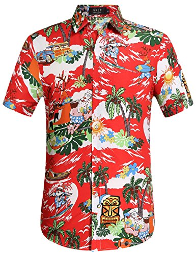 SSLR Men's Santa Claus Party Tropical Ugly Hawaiian Christmas Shirts (Large, Red)