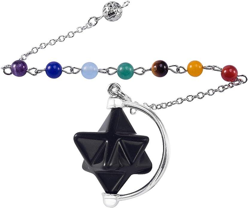 Nupuyai Healing Crystal Point Pendulum for Reiki Dowsing Divination Meditation Chakra Balancing with Dream Catcher Merkaba Star