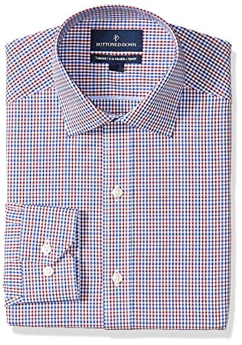 (BUTTONED DOWN Men's Tailored Fit Spread-Collar Pattern Non-Iron Dress Shirt, Red/Blue Gingham, 18.5
