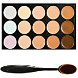 Boolavard® TM 15 Shades Colour Concealer Makeup Palette Kit Make Up Set with Cosmetics Oval Make up Brush