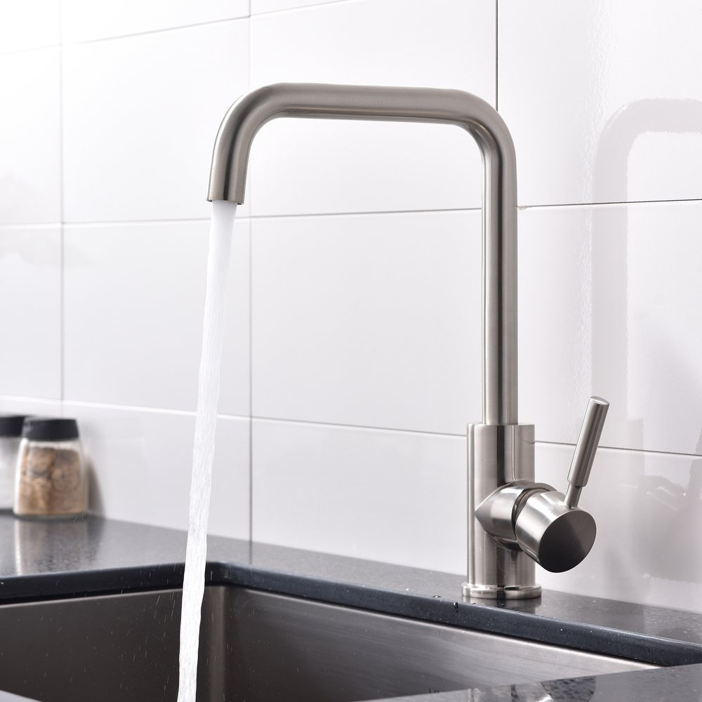 VAPSINT® Excellent In Value And Use Single Handle Single Hole Brushed Nickel Monobloc Mixer Kitchen Taps, Kitchen Taps Faucet Foshan Shunde Yajiasi Kitchen Cabinet Co