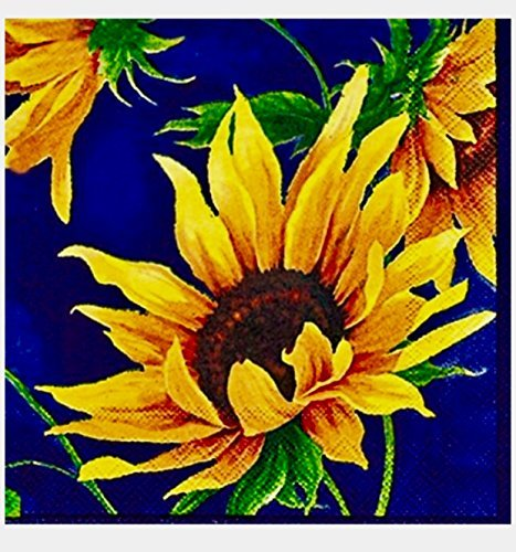 MesaFina Cocktail Beverage Sunflower Paper Napkins, Sunshine Blue, 40 ct